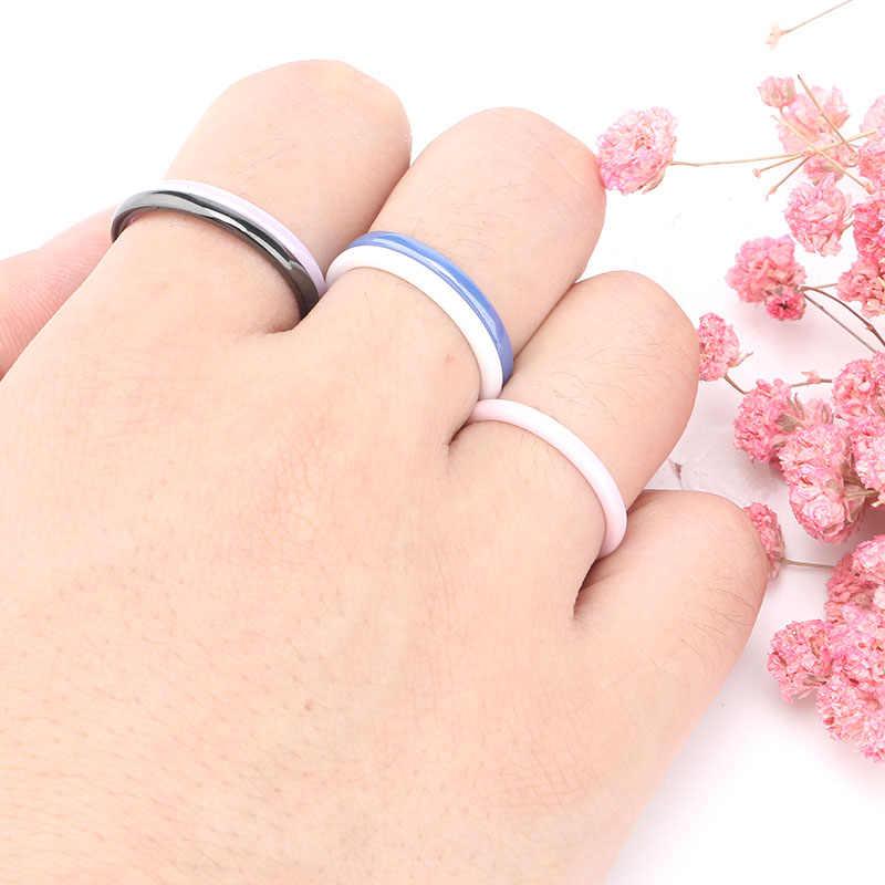 สีสัน 2 มม.แหวนเซรามิคสำหรับ Women สีชมพูสีดำสีฟ้าสีขาวสีม่วงแหวน Elegant แหวนหมั้นคุณภาพสูงเครื่องประดับของขวัญ