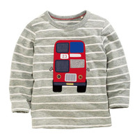 Funny Baby Clothes T Shirts For Boys Kids T Shirts Boy Gray Stripe Long Sleeve T