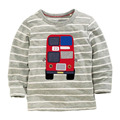 funny baby clothes t shirts for boys kids t shirts boy Gray stripe long sleeve T-shirt tops boys bus design gray full sleeve