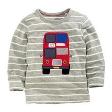 Drôle bébé vêtements t chemises pour garçons enfants t-shirts garçon gris bande à manches longues T-shirt tops garçons bus conception gris plein manches