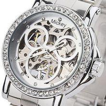 Hot новый бренд женщин ограниченным тиражом микки мультфильм механические часы рука ветер наручные часы полная сталь подарок для девочек Reloj