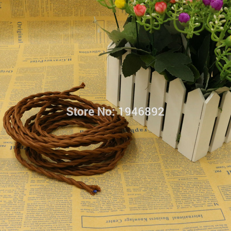 5m 2x0.75 Brown Color Vintage rope Wire Twisted <font><b>Cable</b></font> Retro Braided Electrical Wire Fabric Wire DIY Pendant Lamp Wire Lamp image