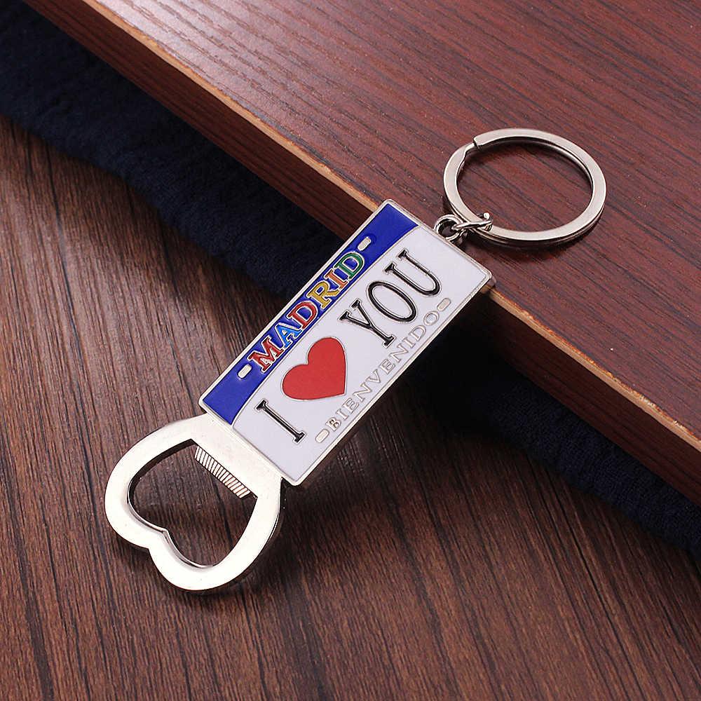 Vicney открывалка для бутылок брелок I Love Мадрид брелок сувениры из Испании для лучшего друга подарок красочный нож из цинкового сплава держатель для ключей
