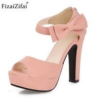 Size 31 43 New Summer Peep Toe Ankle Strap Orange Sweet Thick High Heel Sandals Platform