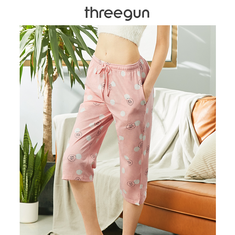 THREEGUN Pajama Short Pant Women Knee Length Modis Cotton Sleepwear Loose Lounge Pants Printed Cute Home Bottom Wear XXL Sweet