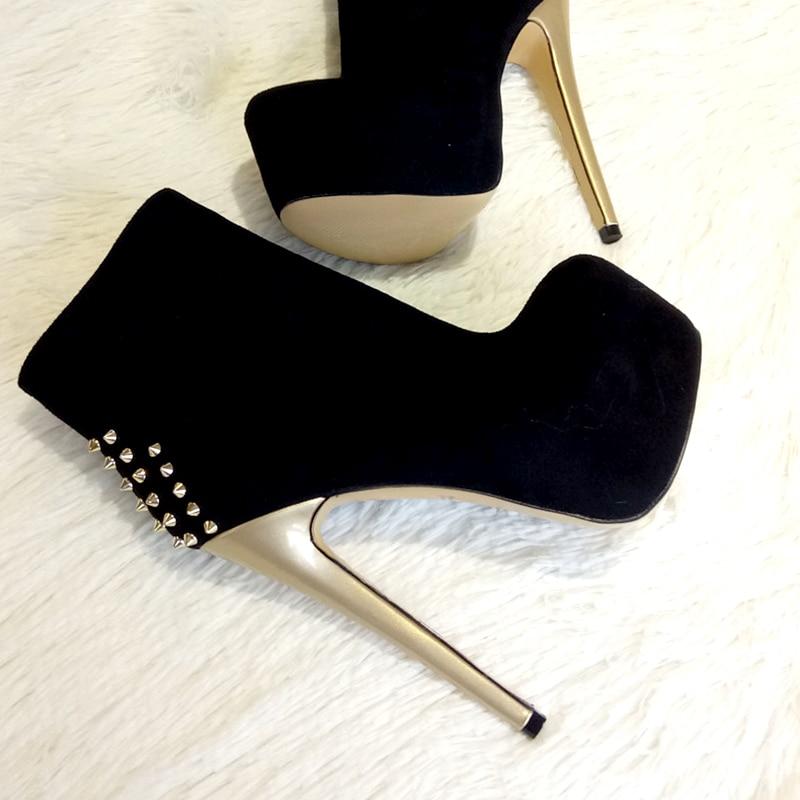 Onlymaker Women s Ankle ivet Boots Shoes 16cm High Thin Heel 4cm Platform Fashion Heels Metal