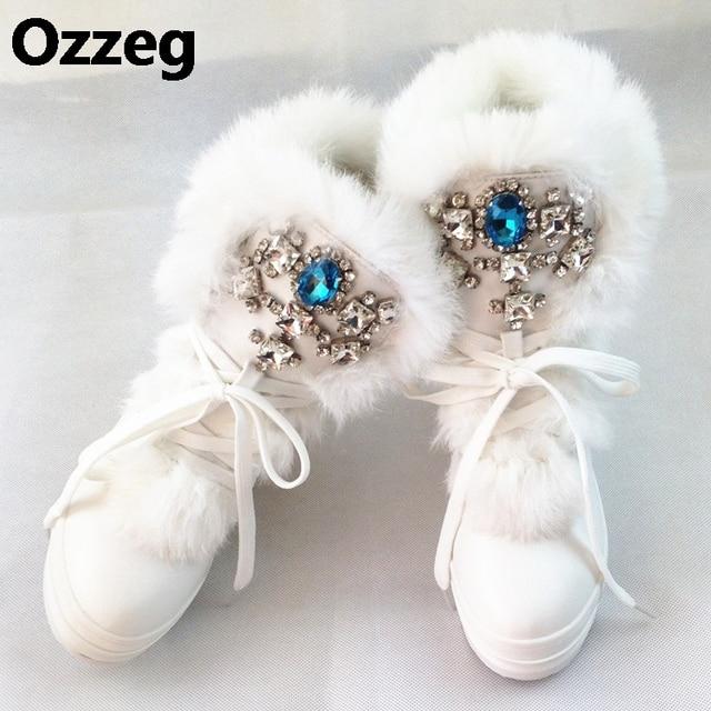 8f4f1257007 Real Rabbit Fur Winter Boots Rhinestones Diamond Fashion Snow Boots Thick  Warm High-Top Women