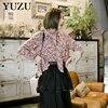 Ruffles Blouse Autumn Floral Print Korean Fashion Blouse Flare Long Sleeve Bow Single Breasted Designer Blouse