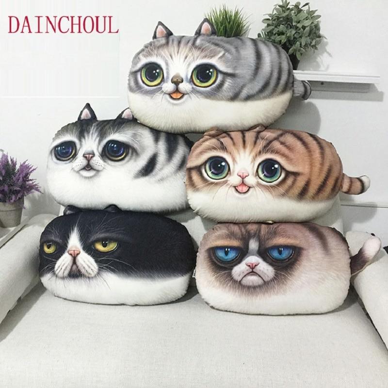 55x32 Cm Large Size 3D Cute Cat Emoji Cushion Creative Cartoon Sofa Office Nap Pillow Washable Pillow Car Seat Cushions