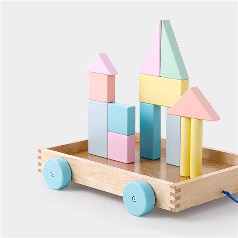 En bois Infantile Éducation Précoce Macarons Couleur Remorque Blocs de Construction Éducatifs pour Enfants Illumination Jouet Blocs de Remorque