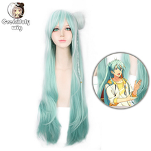 100cm Ensemble Stars Hibiki Wataru Long white green Ombre Synthetic Hair Women Cosplay Costume Wig With Bun Free Shipping цена 2017