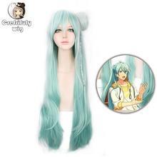 100cm Ensemble Stars Hibiki Wataru Long white green Ombre Synthetic Hair Women Cosplay Costume Wig With Bun Free Shipping