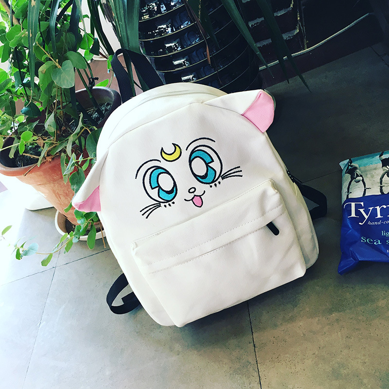 Bentoy Cartoon Cat Backpacks Woman Canvas School Bags Students Backpack for Teenager Book Bag Mochila Escolar