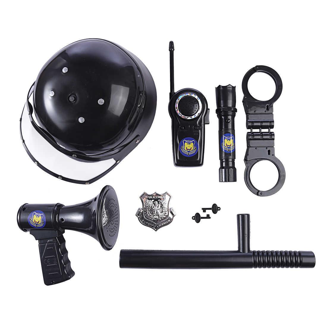9 pièces enfants jouets anti-émeute Police chapeau Cosplay enfants casque Cop menottes talkie-walkie Badge semblant jouer maison jouets pour les enfants