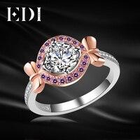 EDI Romantic 1CT Round Cut Moissanite Diamond D F Color Pink Sapphire Wedding Rings For Women