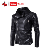 Spring Autumn Fashion Motorcycle Jackets PU Leather Moto Jackets Men Slash Zipper Lapel Biker Rider Faux