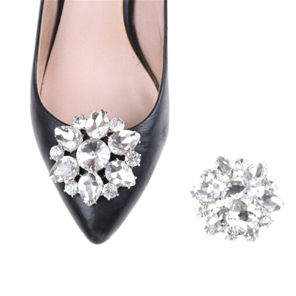 1PCS Shoes Clips Rhinestone Crystal Flower Shoes Buckle Bridal Wedding Decor new