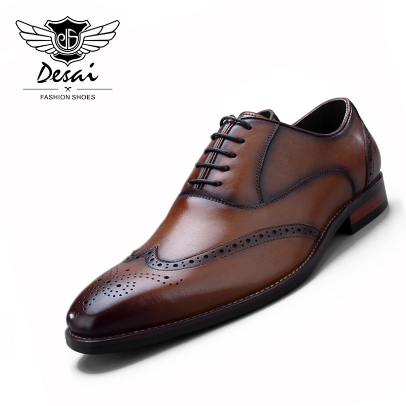DESAI 2018 British Style Shoes Men Bullock Carved Genuine Leather Lace Up Men's Business Dress Shoes Beathable Casual shoes desai brand genuine leather shoes men oxfords shoes british style carved brown brogue shoes lace up bullock business men s flats