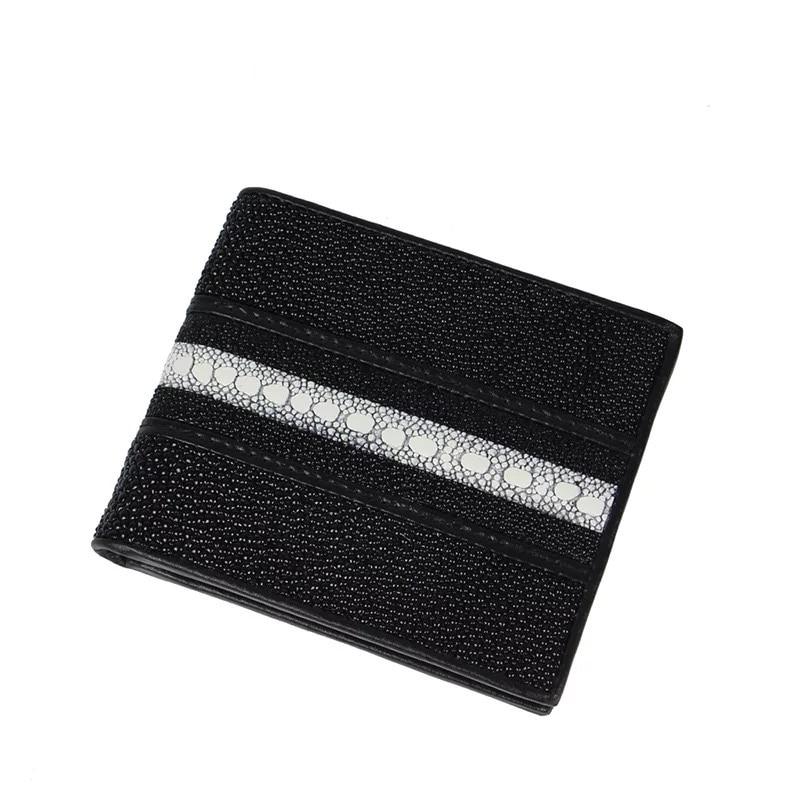 Thailand Genuine Stingray Skin Leather Men Man Short Purse Card Holder Internal Zipper Pocket Wallet Male