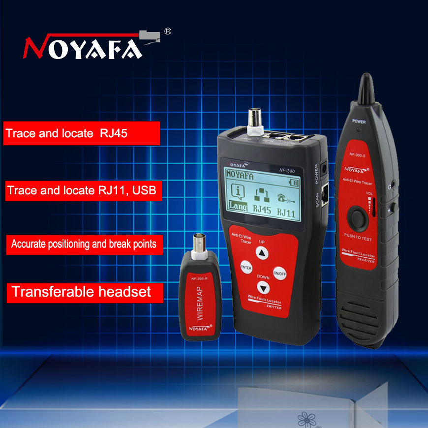 Réseau câble coaxial testeur LAN Réseau téléphone lan testeur RJ45 RJ11 Câble Testeur de Continuité Fil d'inspection Tracker NF-300
