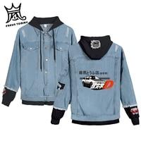 FRDUN TOMMY CAR boy girl Print Drift AE86 Initial D Harajuku denim jacket hoody cool Casual Japan Anime Homme jean jacket