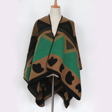 Women Green Spell Color Cloak Cape Coat Female Imitation Cashmere Scarves Fashion Star The Same Paragraph Shawl Poncho Cachecol