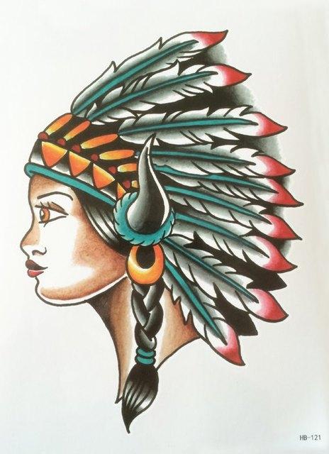 2 Pcs 3d Indienne Femmes Totem Plume Grand Tatouage Temporaire