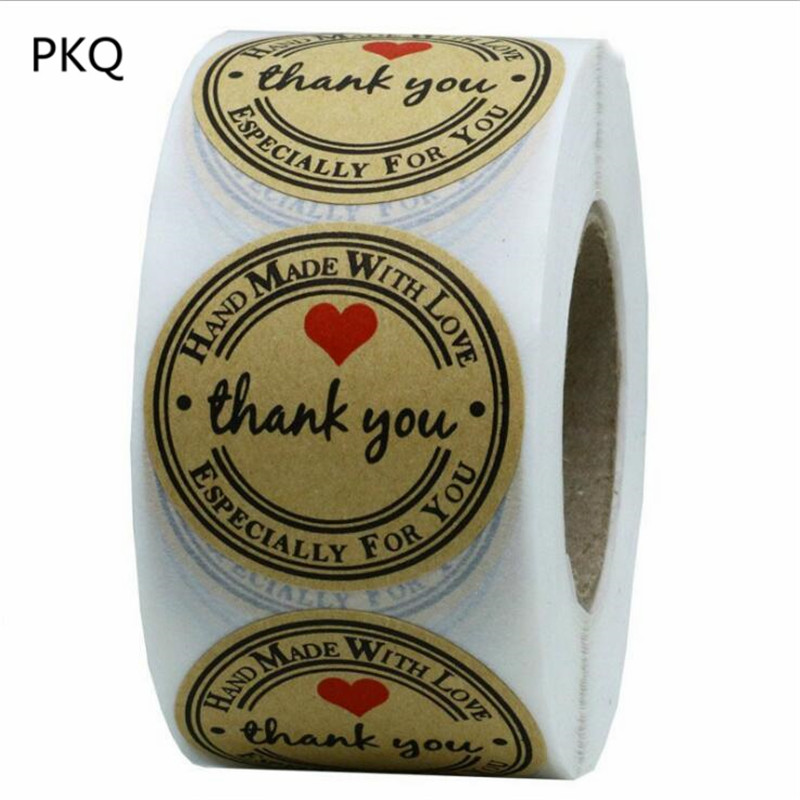 Total 500 Adhesive Labels Per Roll 1 Inch Round Kraft Paper Thank You Hand Made With Love With Red Heart Stickers For Packaging(China)