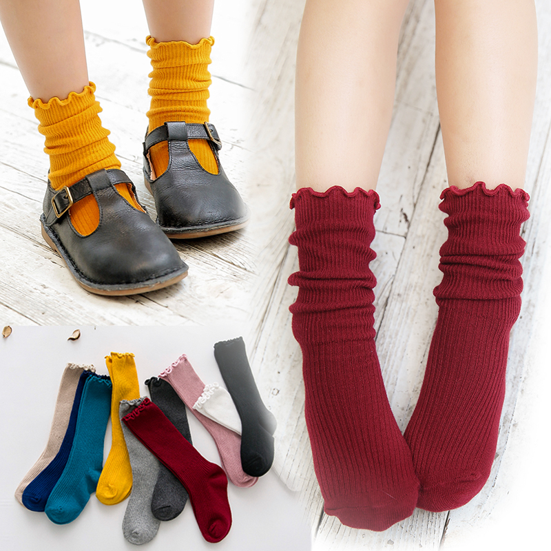 Aliexpress.com : Buy Girls Socks Solid Color Spring And ...