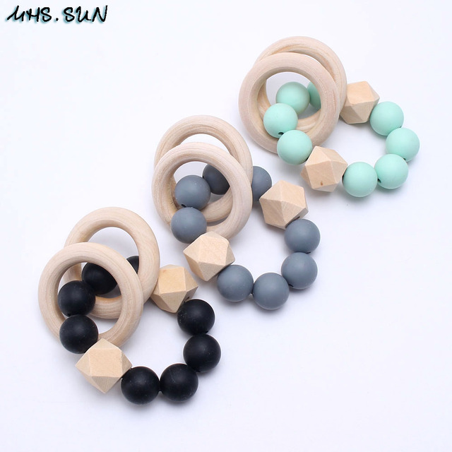Sun Baby Infants Silicone Beads Bracelets With Wooden Circle Food Grade Chewable Teething Nursing