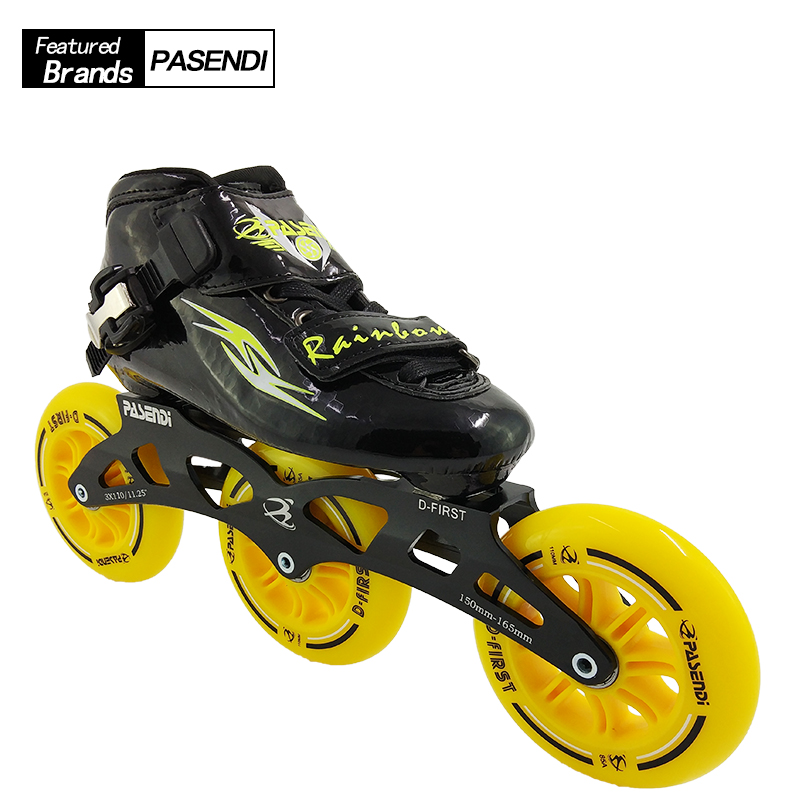 2018 Summer PASENDI New Inline Speed Skating 3 Wheels Patines Roller Skate Shoes Women Men Boots Adult Child Professional Skates unsex multi colors professional skates shoes fancy single row roller adult inline universal skating rink skates