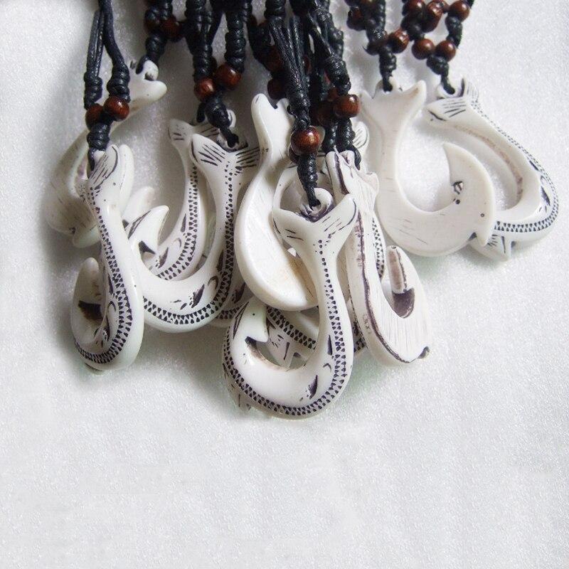 1pc Faux Yak Bone Resin Maori/Hawaii Fish Hook Pendant Necklace