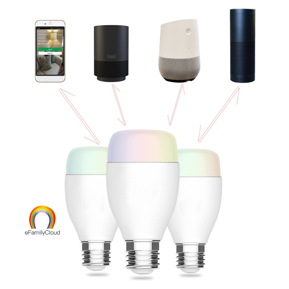 ICOCO Super Bright Wifi E27 Smart Bulb with PP Remote Control RGBW Timing Light Bulb Smart Phone Remote Control Bulbs Drop Ship