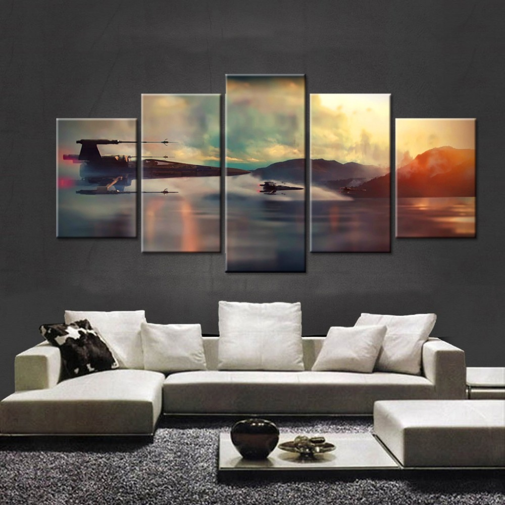 modern art print star wars movie poster 5 panel canvas art wall framed paintings for living