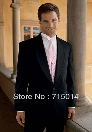 2017 Custom Made Size Black Pink Clic Men S Wedding Suits Groom Wear Bridegroom For Set Jacket Vest Pants