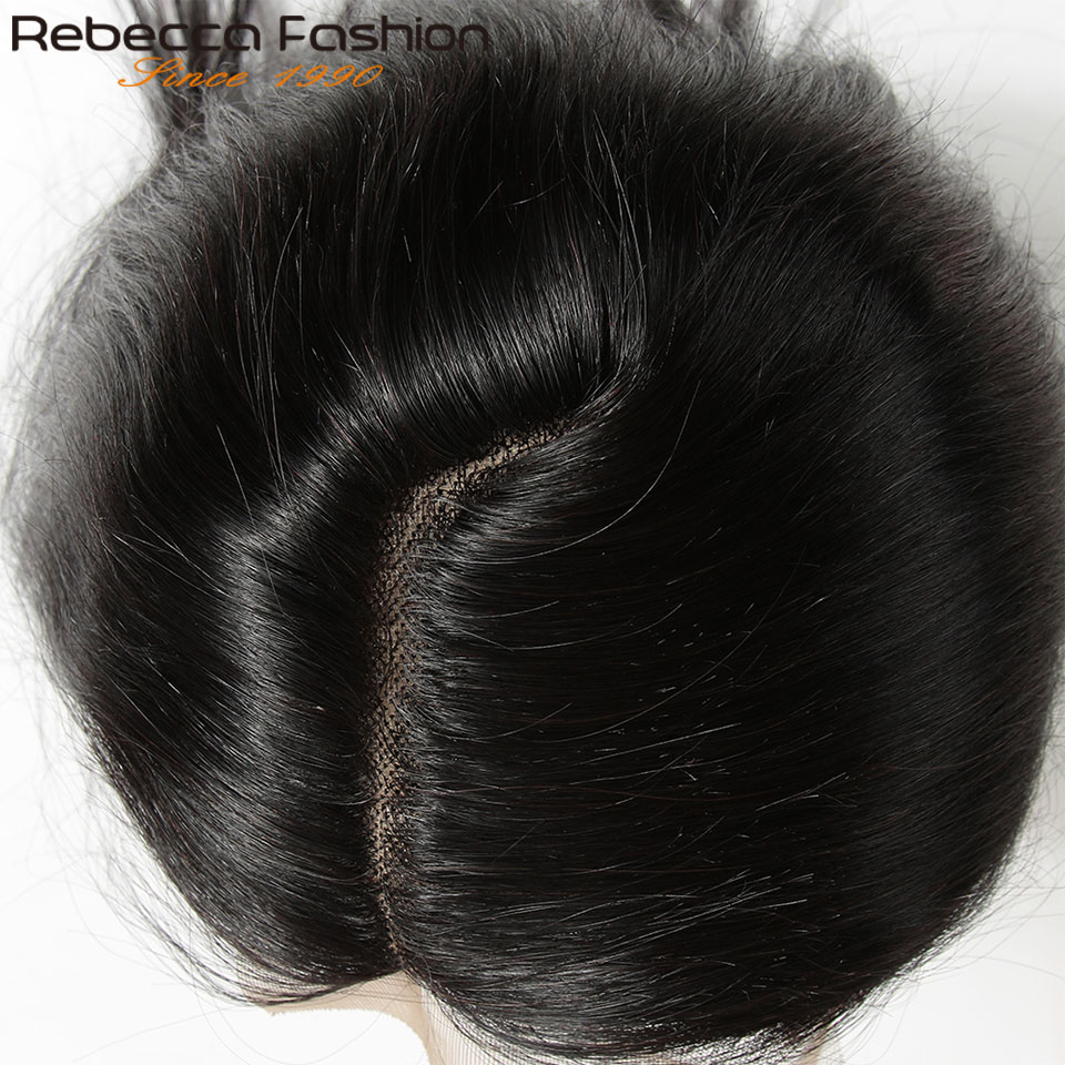Rebecca Remy Hair 5*6 Lace Closure L Deep Part Lace Closure Peruvian Straight Human Hair Closure With Baby Hair 10-20 Inch