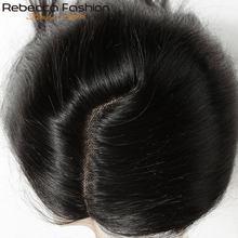 Rebecca remy cabelo 5*6 fechamento do laço l parte profunda fechamento do laço peruano em linha reta fechamento do cabelo humano com cabelo do bebê 10-20 Polegada