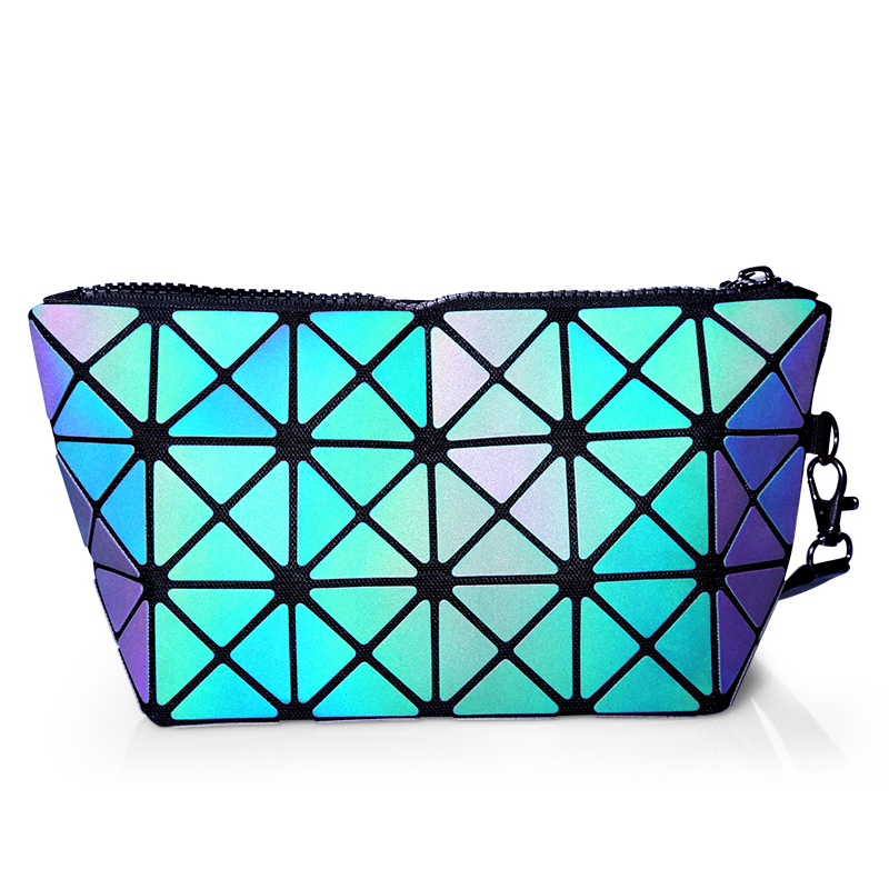 2018 New Fashion Makeup Bag Laser PU Travel Cosmetic Bag Case Geometric Zipper Folding Women Makeup Set Pouch Organizer Toiletry