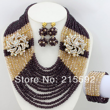 2014 New Design Nigerian Wedding African Beads Jewelry Set Crystal Wedding Necklace/Earrings/Bracelet Set Free Shipping AJS191