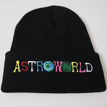 new arrival 10afb 4eb9d Unisex Hats Astroworld Letter Embroidery LOGO Knitted Beanies Hats for Men  Headwear Solid Color Brand Winter