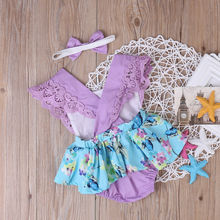 Floral Romper Dress Baby Girl Clothes 2Pcs Outfits