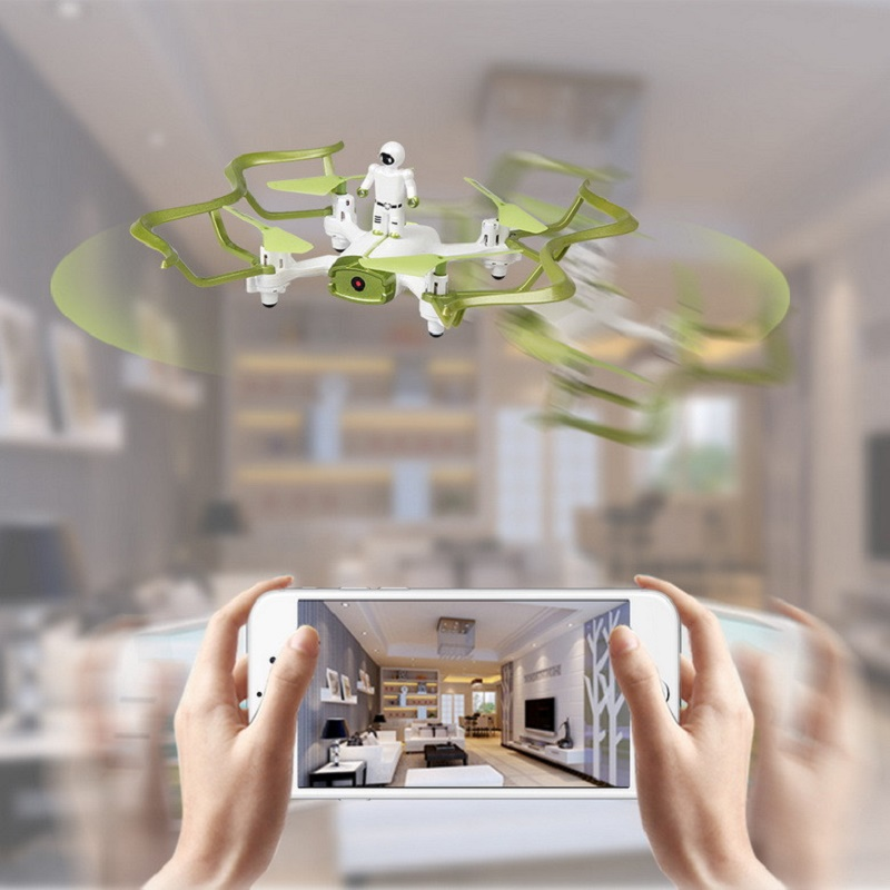 2019 Mini Drone RC couleur vert et blanc quadrirotor Wifi FPV Selfie Drone RC Mode sans tête maintien d'altitude g-sensor Quadrocopter jouets