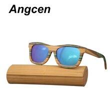 04d4cb2dc Angcen Cores Muti Quadrado Óculos De Sol De Bambu De Madeira Óculos De Sol  Das Mulheres Dos Homens Polarizados Óculos de Sol das.