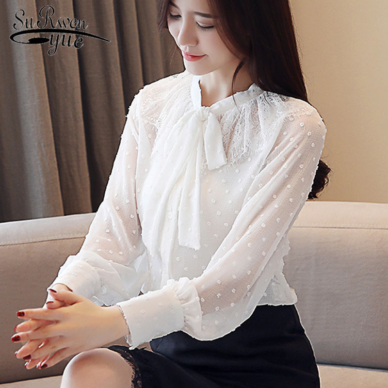 Spring Fashion chiffon womens tops and blouses 2019 plus size lace women shirts blusas femininas polka dot OL clothes 1870 50