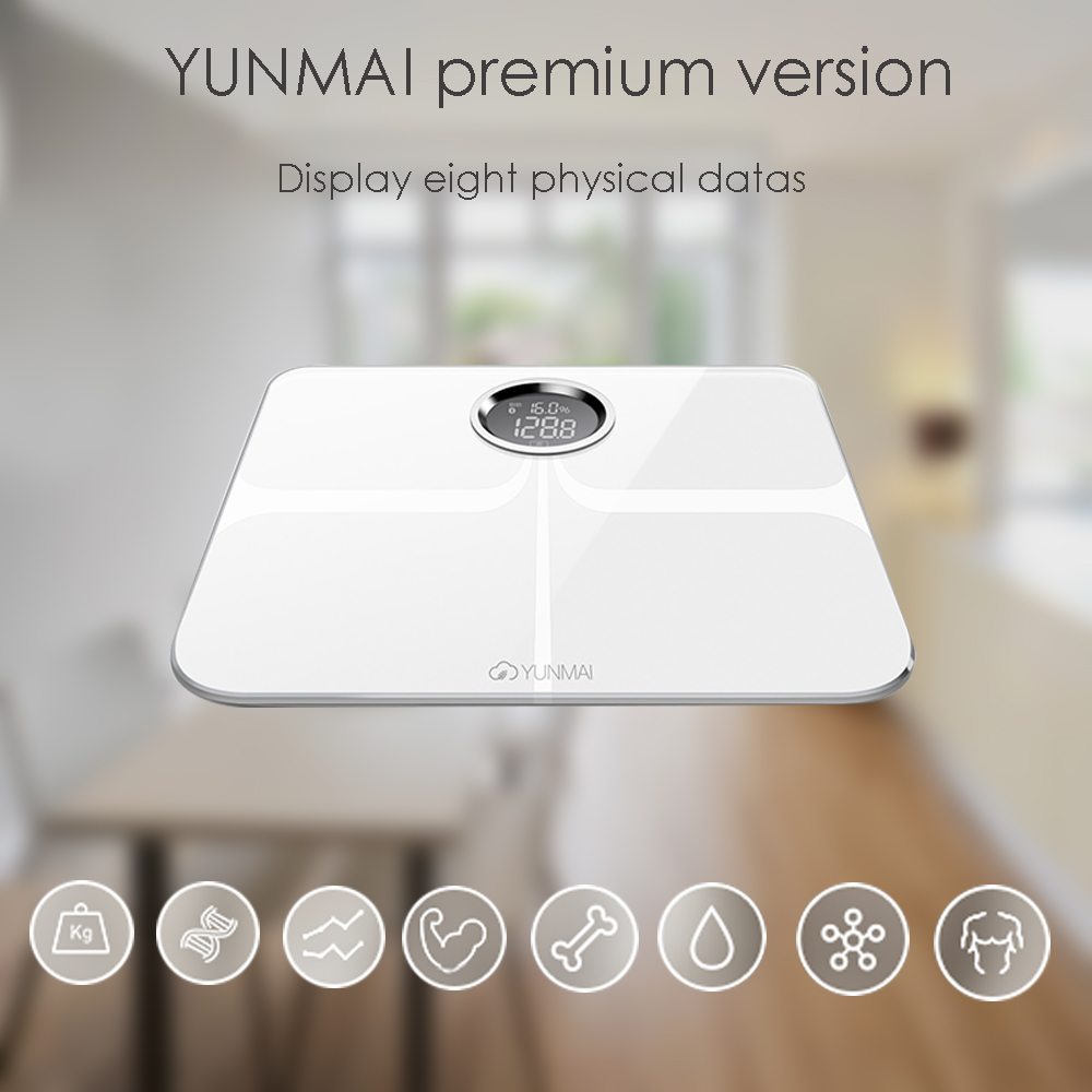 YUNMAI M1301 Smart Body Fat Scale Bluetooth 4.0 APP Control Body Composition Monitor 4.0 Inches Concealed LED Screen 2019