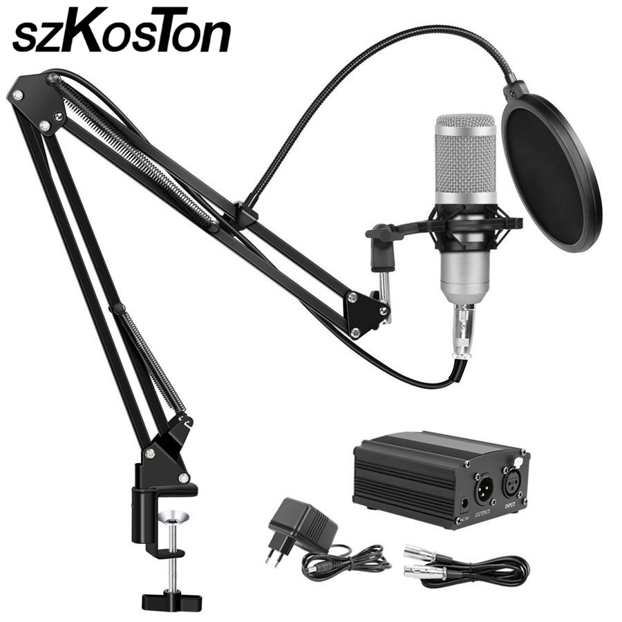 Bm 800 Condenser Microphone for Computer karaoke Microphone Studio Microphones Mikrofon with Microphone Holder Phantom Power heat live broadcast sound card professional bm 700 condenser mic with webcam package karaoke microphone