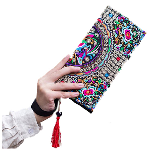 FGGS Hot Hot New Embroidered Wallet Purse Handmade Ethnic Flowers Embroidery Women Long Wallet Day Clutch Handbag