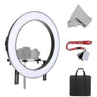 Fomito Falconeyes DVR 160TVC 160pcs SMD Beads 3200K 5600K Photography Studio Video LED Ring Light Bi Color Fill in Light Lamp