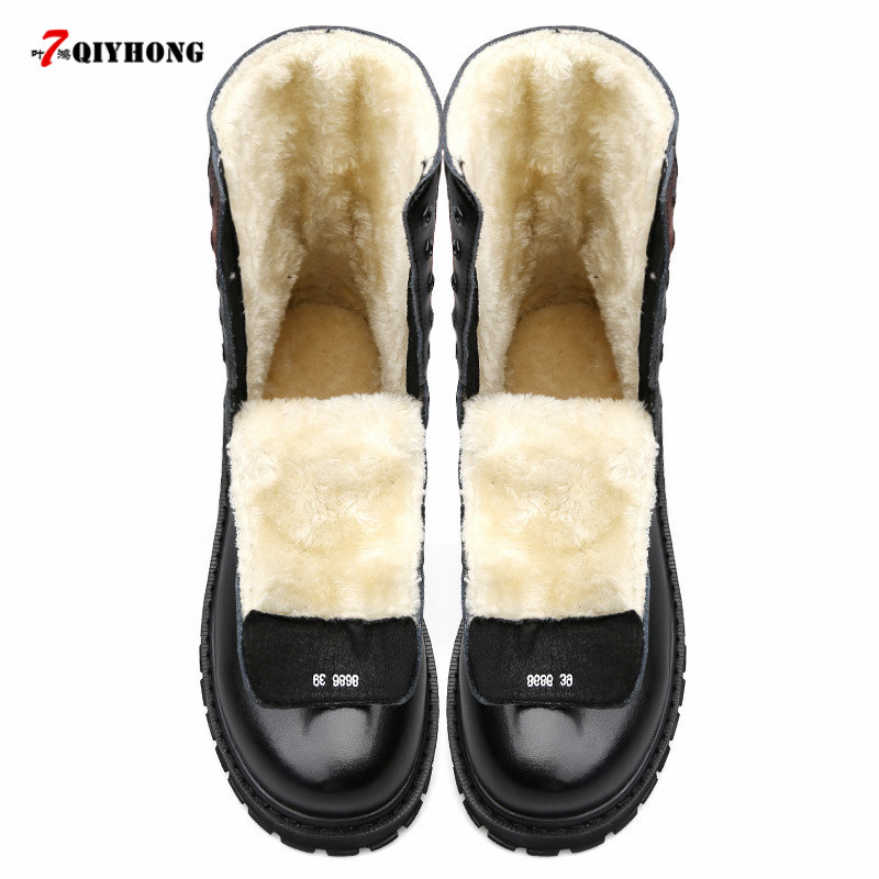 Natural Wool Men Winter Martin boots Large Size 38~48 Warmest Genuine Leather Russian style Men Snow Boots osco factory direct natural cow leather winter men warm casual shoes warmest wool casusl style men winter oxford shoes a3534