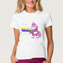 Topjini Funny Unicorn Print T Shirts Women New Fashion rainbow Unicorn Print T-Shirt Casual Short Sleeve Tops harajuku(China)